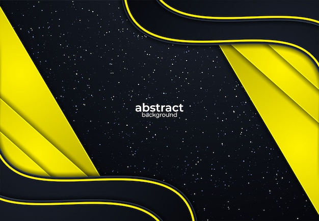 Gelber und schwarzer hintergrund mit vektorüberlappungseffekt und -funkeln