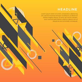 Gelber und schwarzer moderner abstrakter elementdesignhintergrund