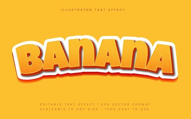Gelber verspielter bananentext-schriftart-effekt