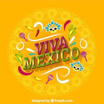 Gelber viva mexiko-beschriftungshintergrund