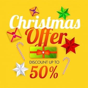Gelber weihnachtsverkaufshintergrund mit 50% rabattangebot