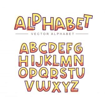 Gelbes alphabet gesetzt
