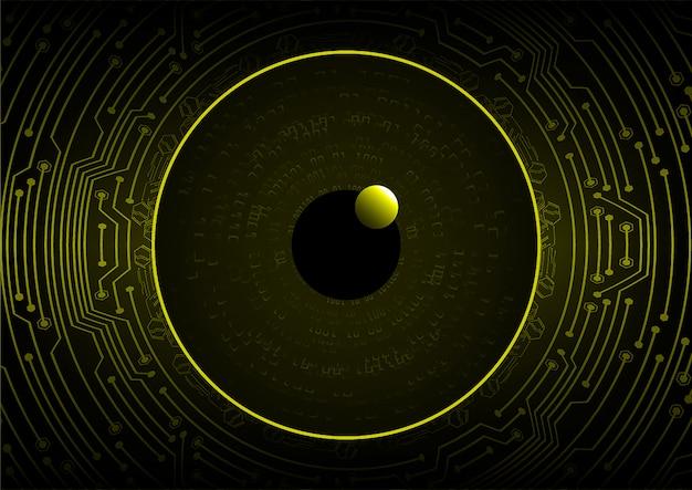 Gelbes auge cyber circuit zukunftstechnologie konzept hintergrund