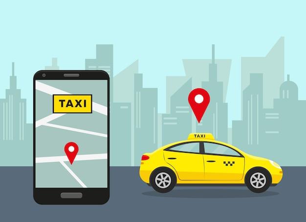 Gelbes auto in der stadt und im smartphone mit der mobilen taxi-app.