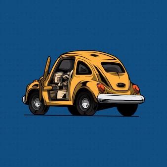 Gelbes auto klassischer volkswagen-käfer