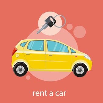 Gelbes auto mit einem schlüssel. mieten sie ein autokonzept in der flachen designkarikaturart