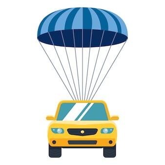 Gelbes auto steigt vom himmel zur erde durch fallschirm ab. sachversicherung.