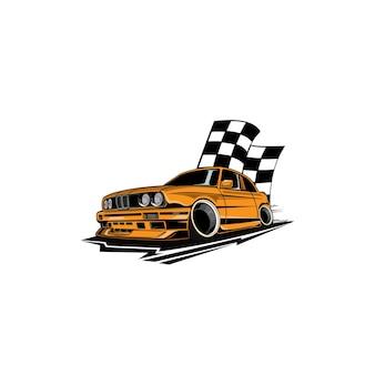 Gelbes auto und die flagge