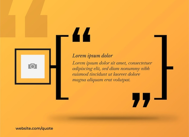 Gelbes banner für zitat mit foto