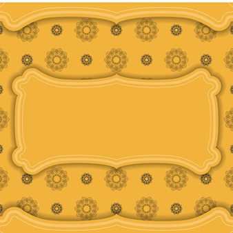 Gelbes banner mit braunem mandala-ornament und platz für ihr logo