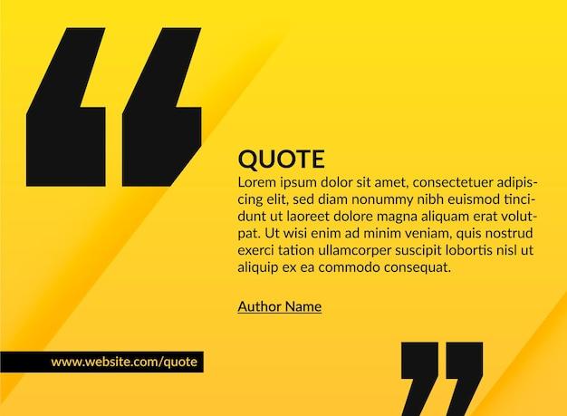 Gelbes banner mit geschnittenem panel für zitat