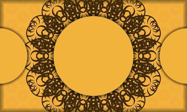 Gelbes banner mit mandala-braun-muster für logo-design