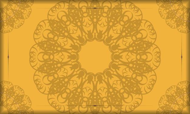 Gelbes banner mit vintage-braunmuster für logo-design