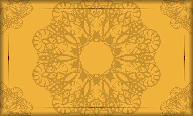 Gelbes banner mit vintage-braunmuster und platz für logo oder text