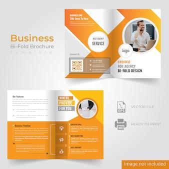 Gelbes bi-fold-broschüren-design