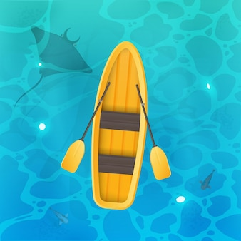 Gelbes boot mit rudern