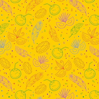 Gelbes brasilianisches karnevalsmuster