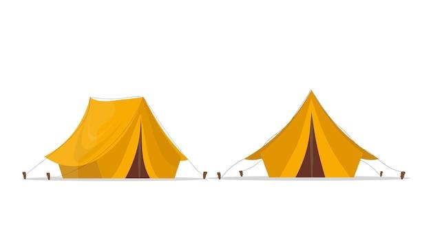 Gelbes campingzelt. auf einem weißen hintergrund isoliert. .
