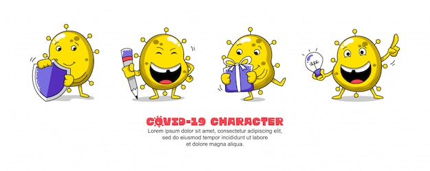 Gelbes covid-19. coronavirus cartoon inspirationsdesign. schild, schrift, geschenk und idee