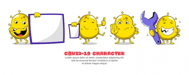 Gelbes covid-19. coronavirus cartoon inspirationsdesign. vorstand, präsentation, stopp und workshop