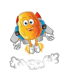 Gelbes datum mit jetpack-maskottchenkarikatur