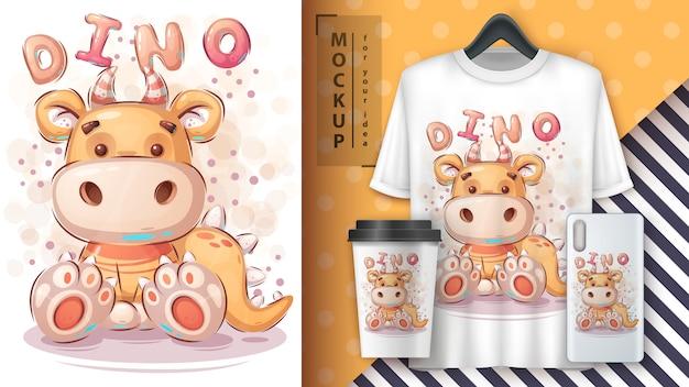 Gelbes dino-plakat und merchandising