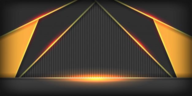 Gelbes dreieckgrau des futuristischen hintergrundes der metallischen überlappung