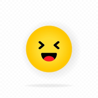 Gelbes emoji-symbol. lachen. lachende emojis. glückliches gesicht mit lächeln emoticon. chatten, kommentieren.