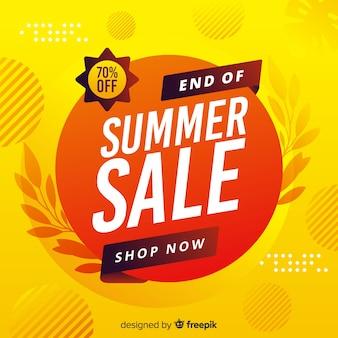 Gelbes ende des sommerschlussverkaufhintergrundes
