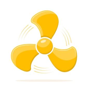 Gelbes fan-symbol in der flachen designillustration
