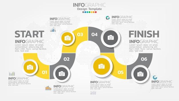 Gelbes farbelement des infografikschritts mit pfeil, diagrammdiagramm, geschäfts-online-marketingkonzept.