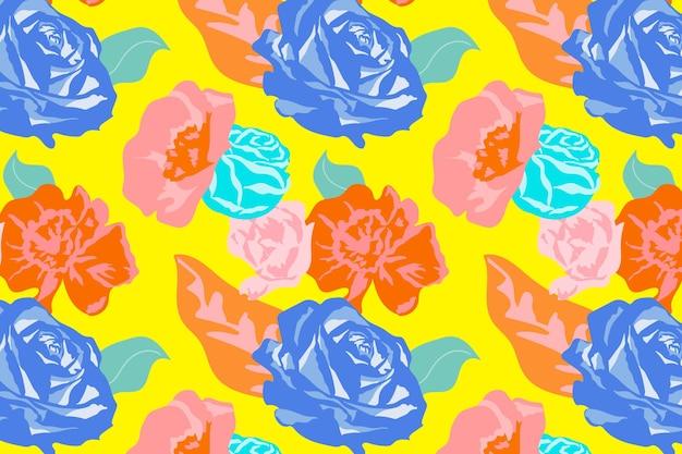 Gelbes frühlingsblumenmuster mit buntem hintergrund der rosen