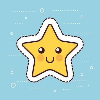 Gelbes glückliches karikaturweihnachten des sternes gelb kawaii
