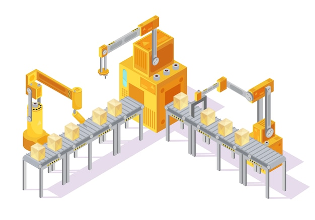Gelbes graues fördersystem mit bedienfeld, roboterhänden und verpackung auf linie isometrische vektorillustration