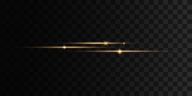Gelbes horizontales lens flares pack laserstrahlen horizontale lichtstrahlenlinien satz blitzlichter funkelt auf transparentem hintergrund helle goldene blendungen abstrakte goldene lichter isoliert