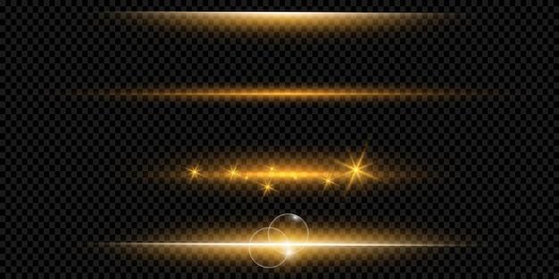 Gelbes horizontales lens flares-paket. laserstrahlen, horizontale lichtstrahlen. schöne lichterketten. glühende streifen auf dunklem hintergrund. leuchtender abstrakter funkelnder gezeichneter hintergrund.