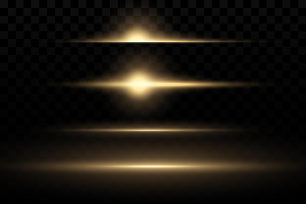 Gelbes horizontales lens flares-paket laserstrahlen horizontale lichtstrahlen schöne lichtreflexe
