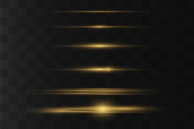 Gelbes horizontales linseneffektpaket. laserstrahlen, horizontale lichtstrahlen. schöne lichtfackeln. leuchtende streifen auf dunklem hintergrund.