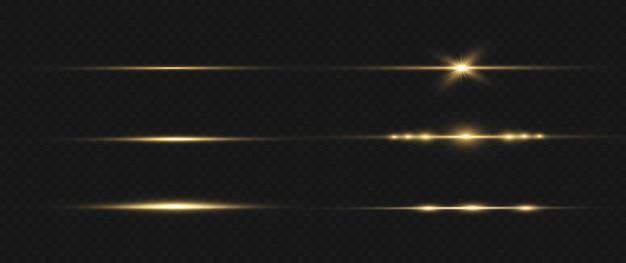 Gelbes horizontales linseneffektpaket. laserstrahlen, horizontale lichtstrahlen.
