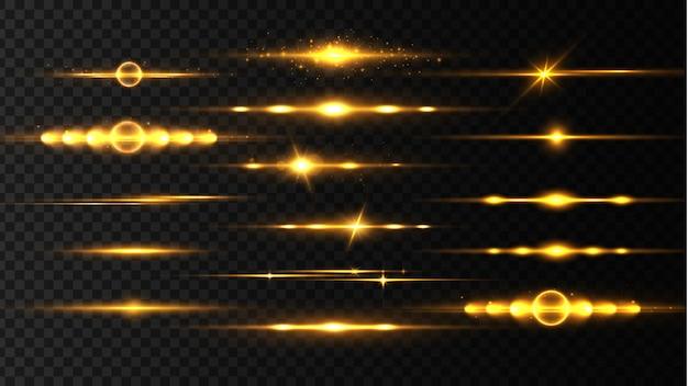 Gelbes horizontales linseneffektpaket, laserstrahlen, lichtfackel. lichtstrahlen leuchtlinie hellgoldene blendung auf transparentem hintergrund glühende streifen. leuchtende abstrakte funkelnde linien. illustration