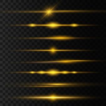Gelbes horizontales linseneffektpaket, laserstrahlen, lichtfackel. lichtstrahlen leuchtlinie hellgoldene blendung glühende streifen. leuchtende abstrakte funkelnde linien.