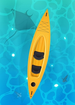 Gelbes kajak mit paddeln