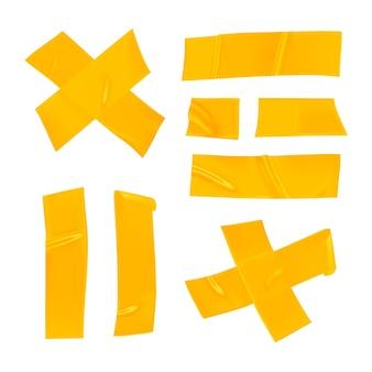 Gelbes klebeband-set. realistische gelbe klebebandstücke