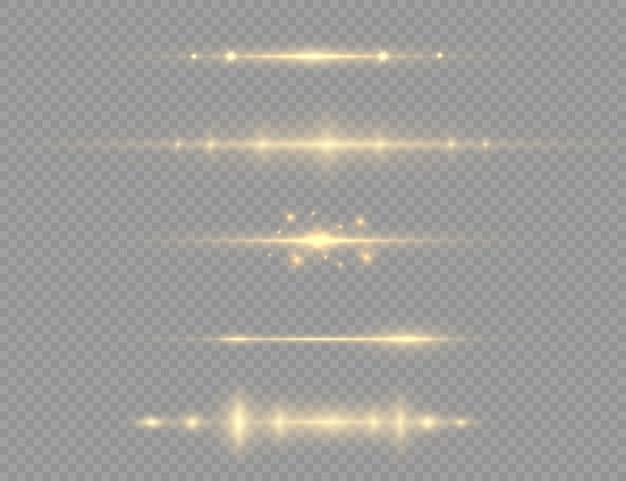 Gelbes leuchtendes licht explodiert auf einem transparenten hintergrund. heller stern. transparent strahlende sonne, heller blitz. funkelt. einen hellen blitz zentrieren.