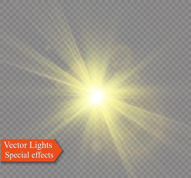 Gelbes leuchtendes licht explodiert auf einem transparenten hintergrund