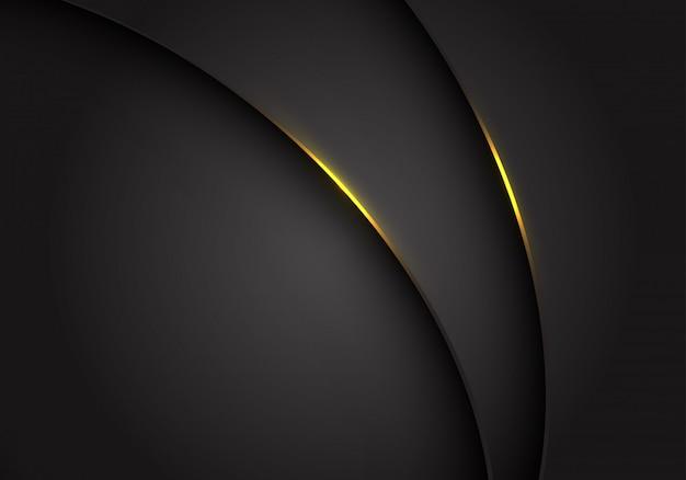 Gelbes licht auf dunkelgrauem grauem metallischem kurvenüberlappungshintergrund.