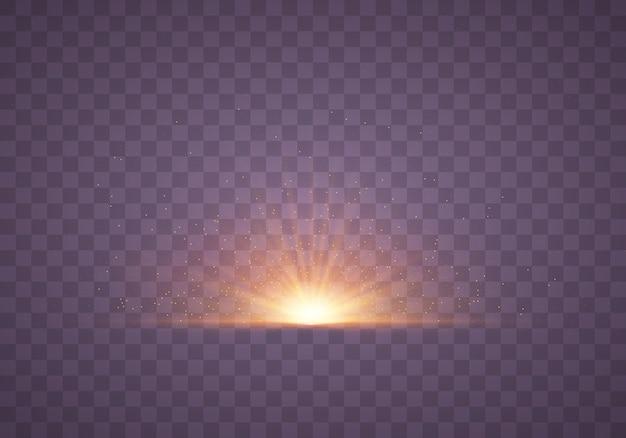Gelbes licht. funkelnde staubpartikel. heller stern.
