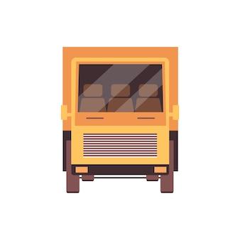Gelbes lkw-symbol auf weißem hintergrund - frachtliefertransport gesehen von der vorderansicht. moderner lkw mit niemandem auf drei-personen-kabine, illustration