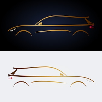 Gelbes luxusauto entwerfen.