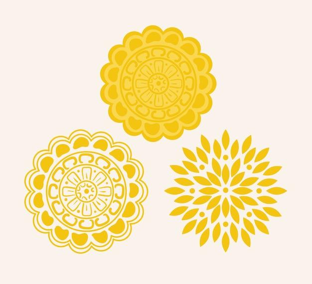 Gelbes mandala auf weißem hintergrund.